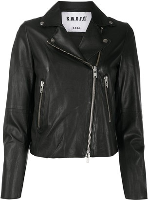 S.W.O.R.D 6.6.44 Cropped Fitted Biker Jacket