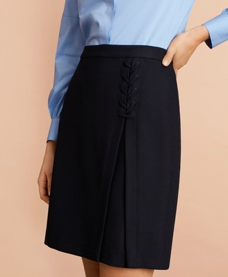Brooks Brothers Twill Lace-Up A-Line Skirt