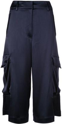 Sies Marjan Sidney crinkled satin elongated cargo shorts