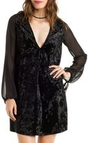Charlotte Russe Plunging Velvet Shift Dress with Chiffon Sleeves