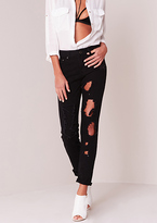 Missy Empire Anji Black All Over Ripped Skinny Jeans