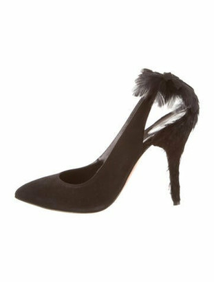 Oscar de la Renta Fabia Feather-Embellished Pumps w/ Tags Black