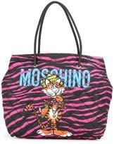 Moschino jewelled tiger print tote