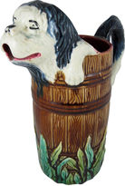 One Kings Lane Vintage Majolica Wet Dog in Barrel Jug