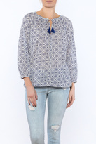 Velvet Blue Summer Print Top