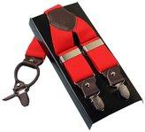 AHATECH Men's Leather Clip-on Suspenders 4 Clips Elastic Y-Shape Adjustable Braces