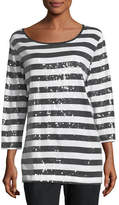 Joan Vass Sequined Striped Tunic, Plus Size
