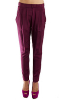 Draped Pocket Trouser in Berry