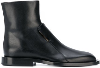 Jil Sander Structured Leather Ankle Boots