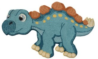 Zoomie Kids Neale Dino Hand-Tufted Wool Blue Area Rug