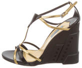 Prada Bicolor T-Strap Wedges w/ Tags