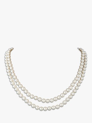Susan Caplan Vintage Rhodium Plated Faux Pearl Double Row Necklace, White