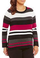 Investments Plus Crew Neck Striped Sweater