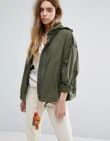 Maison Scotch Relaxed Fit Army Jacket With Hidden Hood