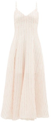Three Graces London Carlota Striped Cut-out Linen Maxi Dress - Cream Stripe