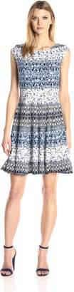 Julian Taylor Women's Multi Floral Fit and Flare Dress