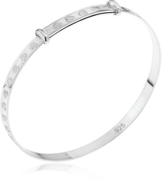 The Love Silver Collection Sterling Silver Children's Christening Expander Bangle & Teddy Bear in Gift Box