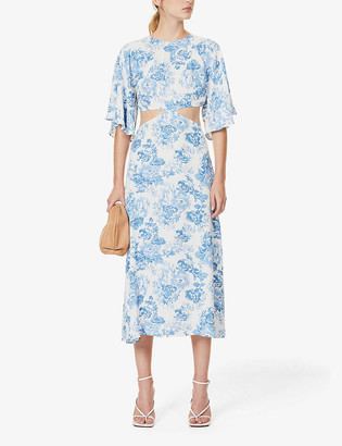 Reformation Benny cut-out crepe midi dress