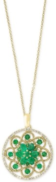 Effy Brasilica by Emerald (1-7/8 ct. t.w.) and Diamond (1/4 ct. t.w.) Floral Pendant Necklace in 14k Gold, Created for Macy's