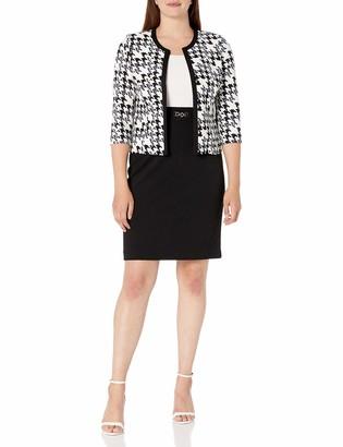 Sandra Darren Women's 2 PC 3/4 Sleeve Jacket Twill Dress Set