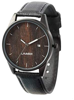 LAiMER wood watch GABRIELE - mens wristwatch made of 100% Ebony wood and stainless steel case - nature & luxury lifestyle