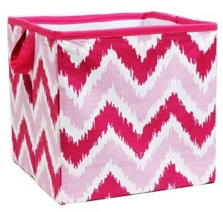 Bacati MixNMatch Pink Zigzag Cotton Percale Fabric covered Storage, Small Box, 10 L x 10 W x 10 H inches