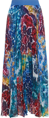 Alice + Olivia Shannon Pleated Tie-dyed Georgette Maxi Skirt