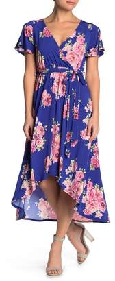 WEST KEI Knit Floral Print High/Low Dress (Petite)
