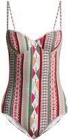 LE SIRENUSE, POSITANO Amanda Arlechino-print sweetheart-neck swimsuit