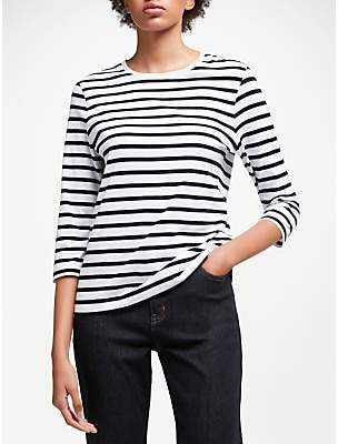 John Lewis & Partners 3/4 Sleeve Zip Back T-Shirt