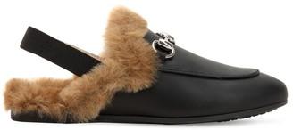 Gucci Horsebit Leather Mules W/ Faux Fur