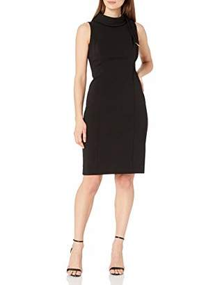 Tahari ASL Women's Sleeveless Scuba Crepe Neck Tie Sheath Dress