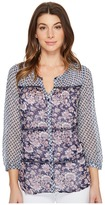 Lucky Brand Blue Mix Print Top Women's Long Sleeve Button Up