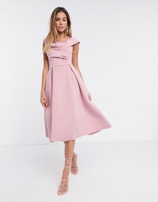 ASOS DESIGN drape fallen shoulder midi skater prom dress in rose