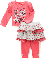 Children's Apparel Network Pink Heart Love Top & Skeggings - Infant