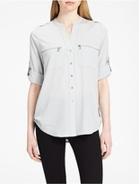 Calvin Klein Mandarin Collar Roll-Up Sleeve Blouse