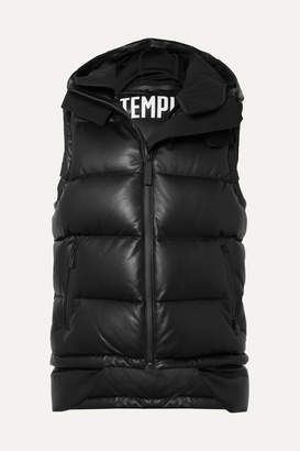 TEMPLA Tuscan Hooded Quilted Leather Down Gilet - Black