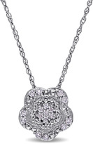 Laura Ashley Diamond Accented 10K White Gold Cluster Flower Pendant Necklace
