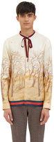 Gucci Men's Scenic Print Silk Shirt In Ivory