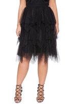 ELOQUII Plus Size Studio Layered Tulle Midi Skirt