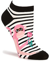 Kate Spade Striped Monkey with Rose No-Show Socks