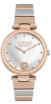 Versus By Versace Versus Women's Los Feliz Rose Gold-Tone/Silver-Tone Stainless Steel Bracelet Watch 34mm