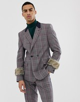 Asos DESIGN skinny double breasted suit jacket in grey check with faux fur cuff