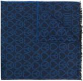 Moschino frayed logo scarf