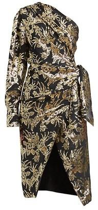 Altuzarra Chanda Metallic Foil One-Shoulder Silk-Blend Dress