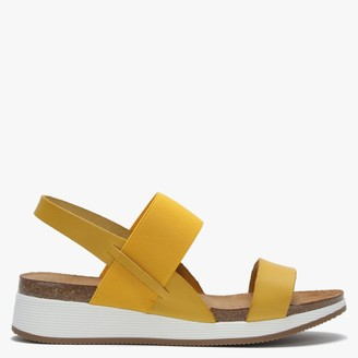 Daniel Bottlewell Yellow Leather Low Wedge Sandals
