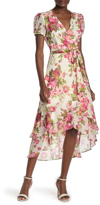 Betsey Johnson Short Sleeve Floral Print High/Low Dress