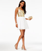 B. Darlin Juniors' Sequined Pleated A-Line Dress