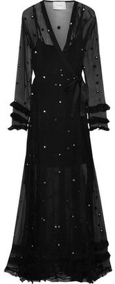 Leone We Are 55 Embellished Silk-gauze Maxi Wrap Dress