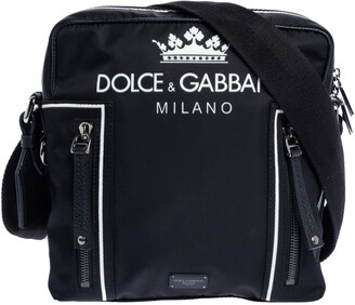 Dolce & Gabbana Black Nylon and Leather Messenger Bag